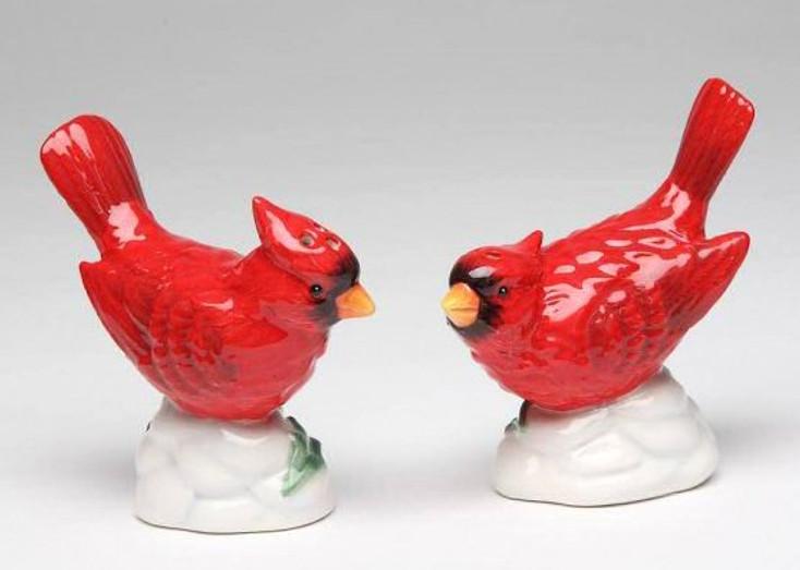 Cardinal Bird Porcelain Salt and Pepper Shakers, Set of 4