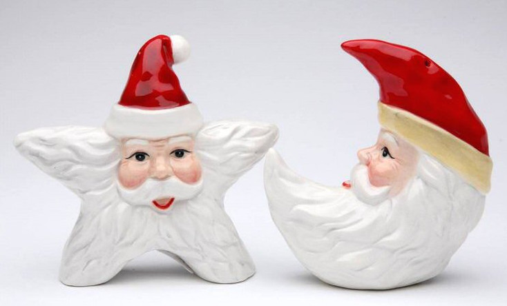Star and Moon Santa Porcelain Salt and Pepper Shakers, Set of 4