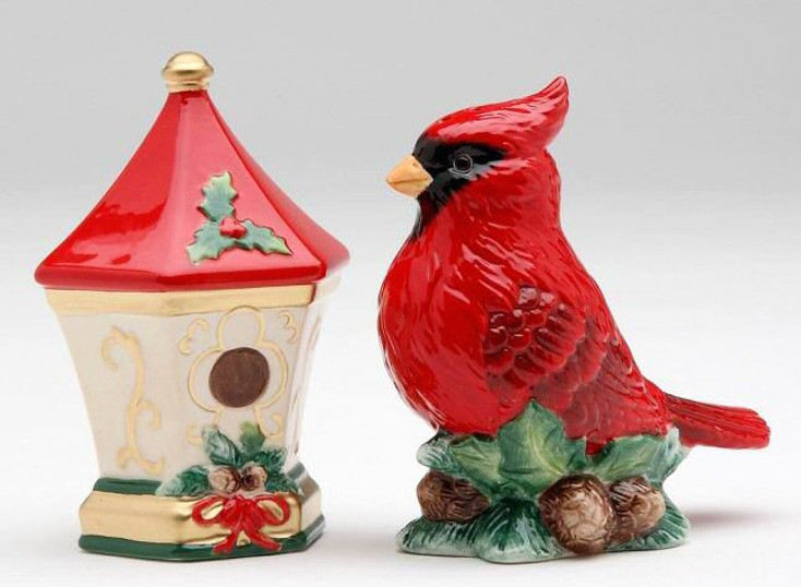 Cardinal Bird and House Porcelain Salt and Pepper Shakers, Set of 4