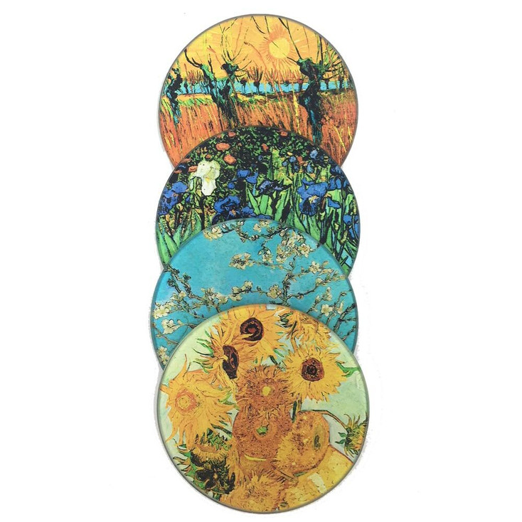 Van Gogh Paintings Glass Drink Coasters with Metal Holder, Set of 4