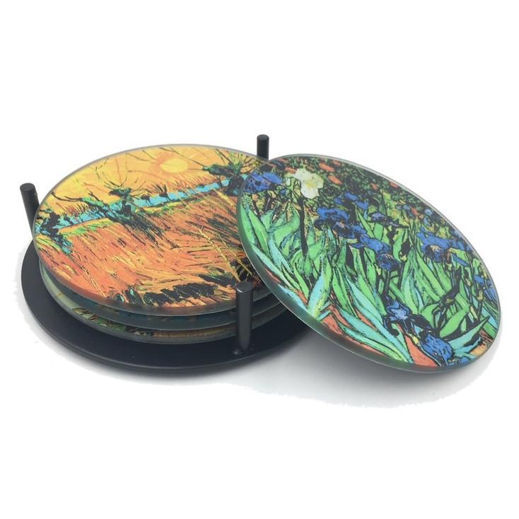 Van Gogh Paintings Glass Drink Coasters w/ Metal Holder, Set of 4