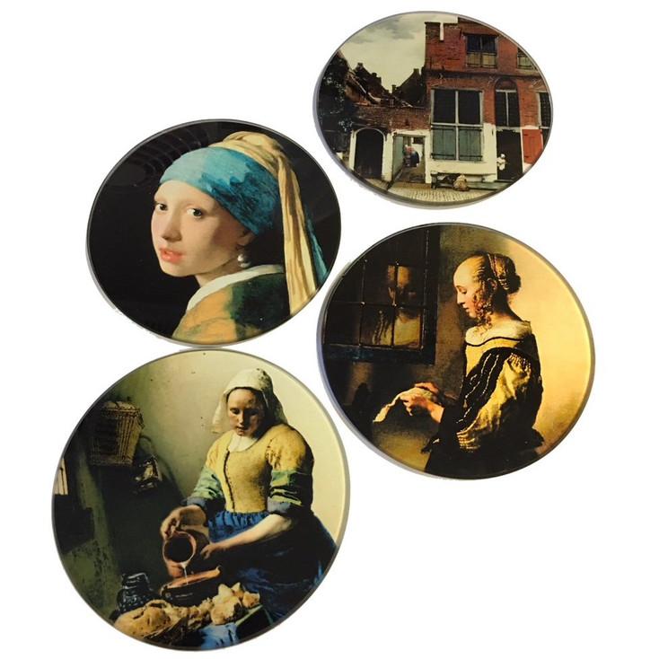 Vermeer Paintings Glass Drink Coasters with Metal Holder, Set of 4