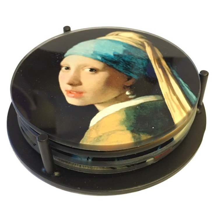 Vermeer Paintings Glass Drink Coasters w/ Metal Holder, Set of 4