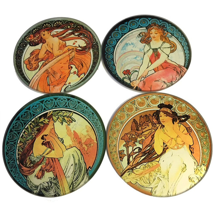 Mucha Paintings Glass Drink Coasters with Metal Holder, Set of 4