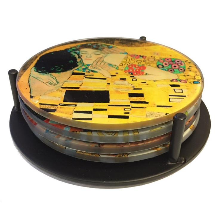 Klimt Paintings Glass Drink Coasters w/ Metal Holder, Set of 4