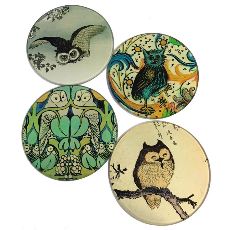 Owl Bird Paintings Glass Drink Coasters with Metal Holder, Set of 4