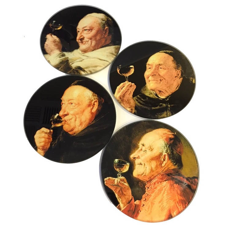 Priests Drinking Grutner Paintings Glass Drink Coasters with Metal Holder, Set of 4
