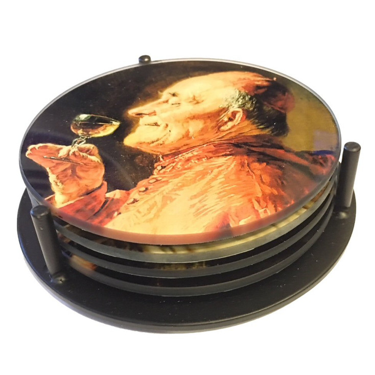 Priests Drinking Grutner Paintings Glass Drink Coasters w/ Metal Holder, Set of 4