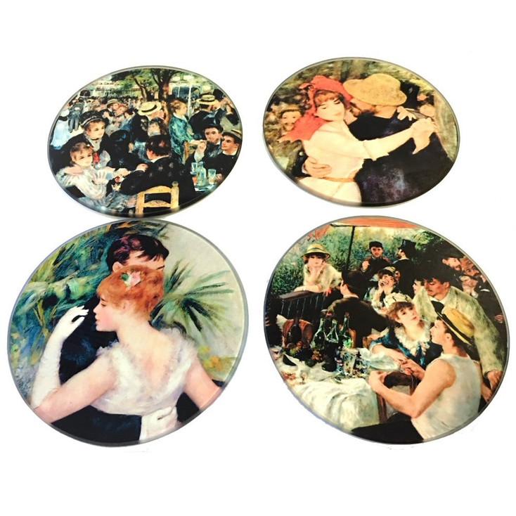 Renoir Paintings Glass Drink Coasters with Metal Holder, Set of 4