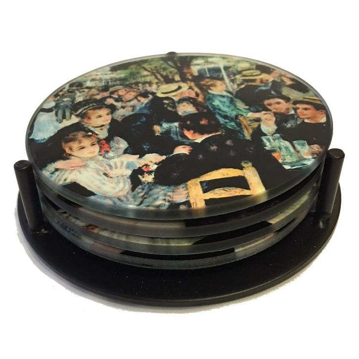 Renoir Paintings Glass Drink Coasters w/ Metal Holder, Set of 4