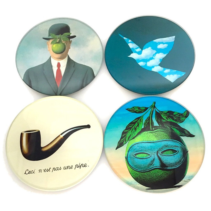 Magritte Surrealism Paintings Glass Drink Coasters with Metal Holder, Set of 4