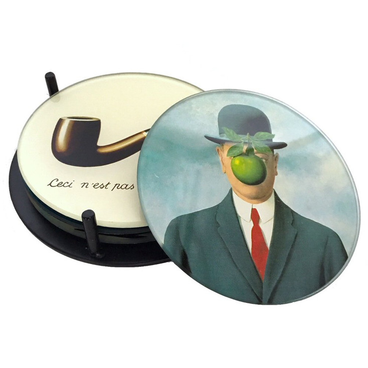 Magritte Surrealism Paintings Glass Drink Coasters w/ Metal Holder, Set of 4