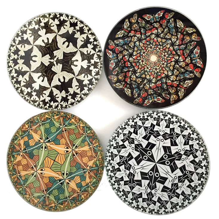 Escher Tessellations Circles Geometric Glass Drink Coasters with Metal Holder, Set of 4