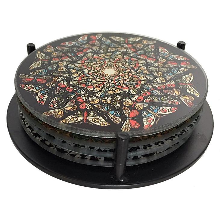 Escher Tessellations Circles Geometric Glass Drink Coasters w/ Metal Holder, Set of 4