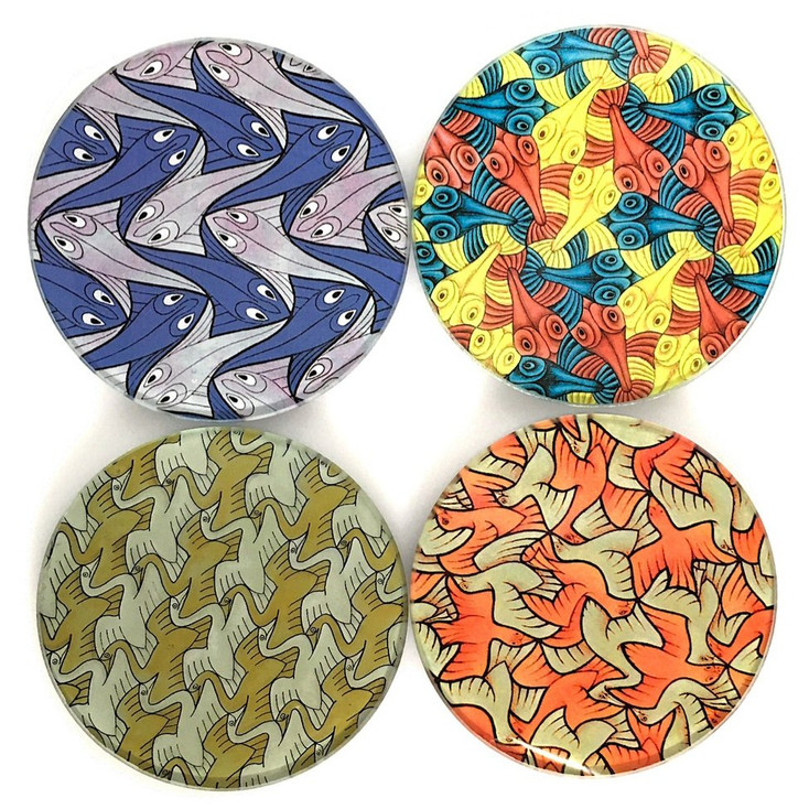 Escher Symmetry Birds Fish Geometric Glass Drink Coasters with Metal Holder, Set of 4