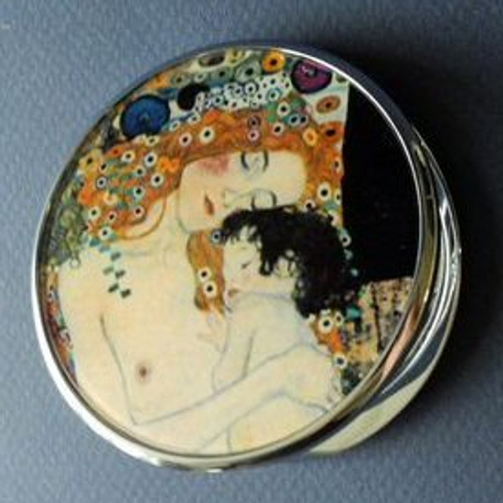 Mother and Child Portable Folding Cosmetic Compact Mirror by Gustav Klimt