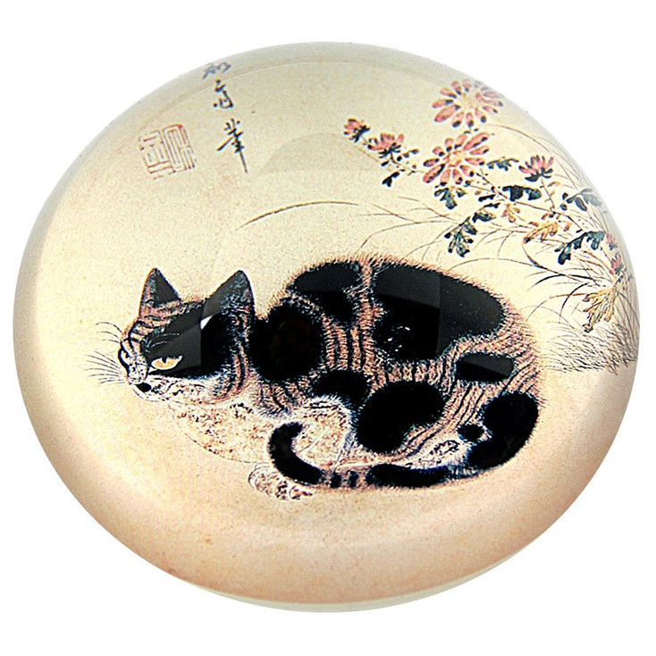 Cat in a Garden Glass Paperweight by Sang-Byeok