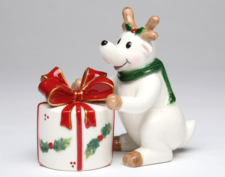 Reindeer with a Gift Porcelain Salt and Pepper Shakers, Set of 4