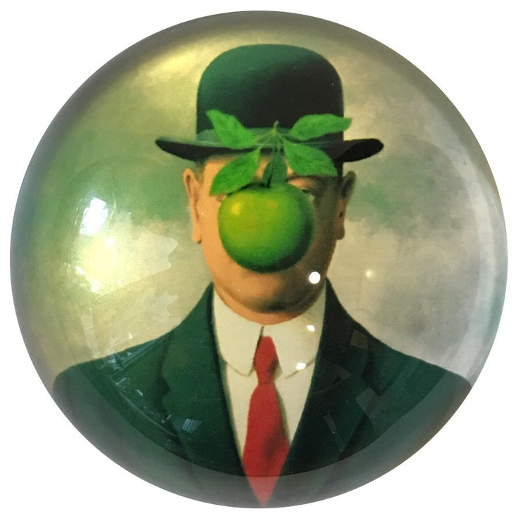 Bowler Hat Man Green Apple Art Glass Paperweight by Magritte