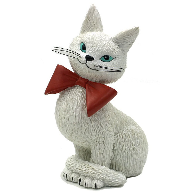 Cat White Coquette So Cute Coy Look Wearing Red Bow Cat Statue by Dubout