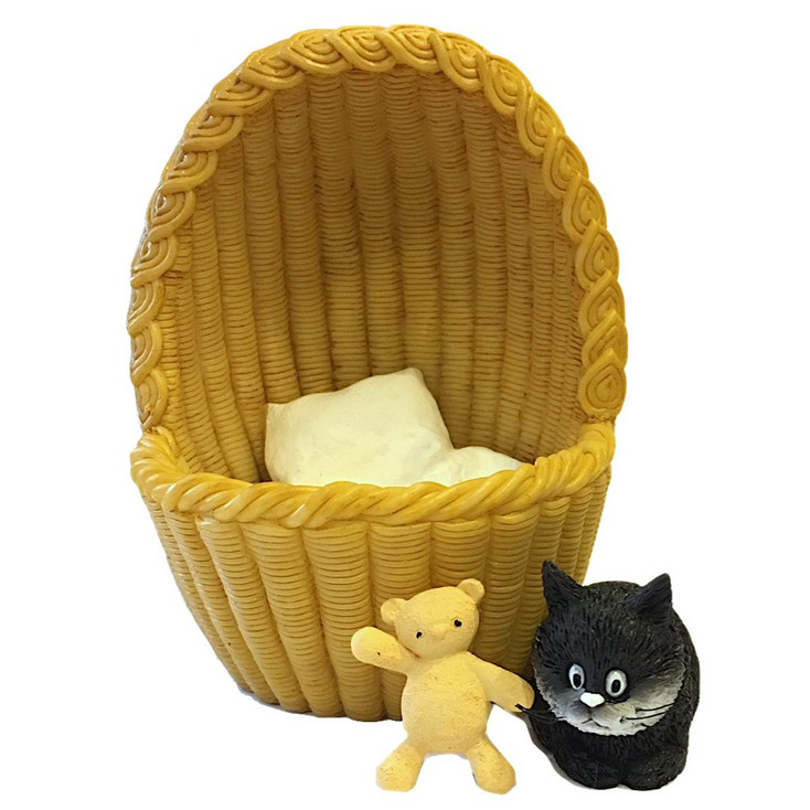 Cozy Nest Kitten in Basket with Teddy Bear Statue by Dubout
