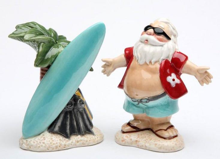 Hawaii Santa with Palm Tree Porcelain Salt & Pepper Shakers, Set of 4