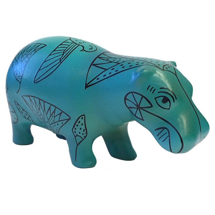 Egyptian Blue Hippo Pocket Art Statue
