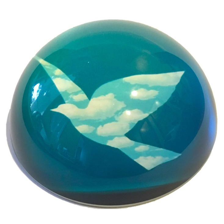 Bird in Clouds l'Oiseau De Ciel Art Glass Paperweight by Magritte