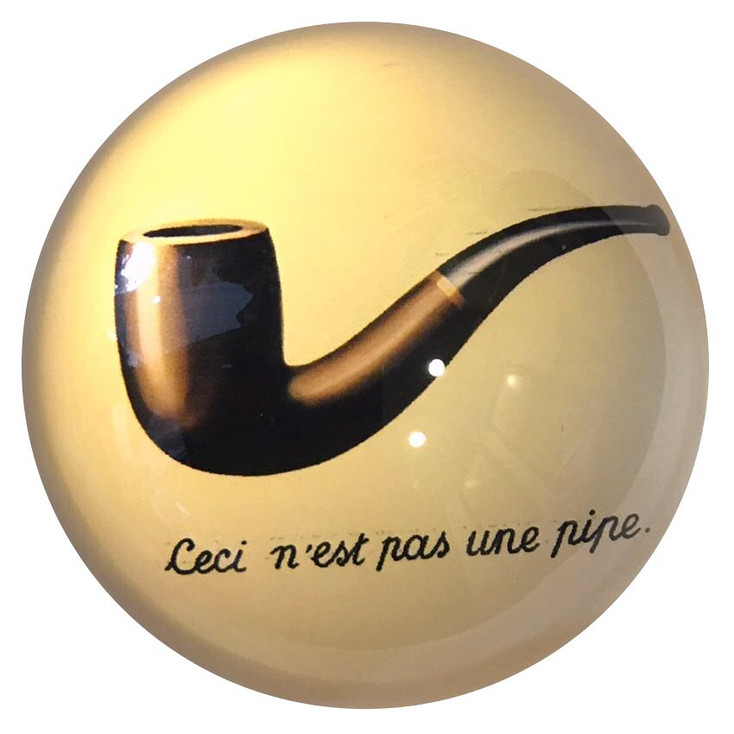 Ceci N'Est Pas Une Pipe Art Glass Paperweight by Magritte