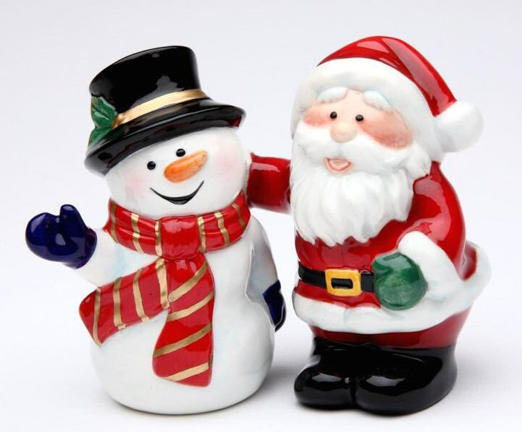 Santa with Snowman Porcelain Salt and Pepper Shakers, Set of 4
