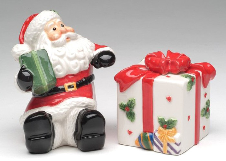 Santa with a Gift Porcelain Salt and Pepper Shakers, Set of 4