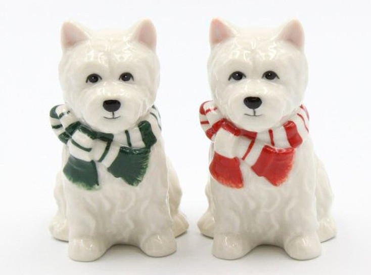 Christmas Westie Dogs Porcelain Salt and Pepper Shakers, Set of 4