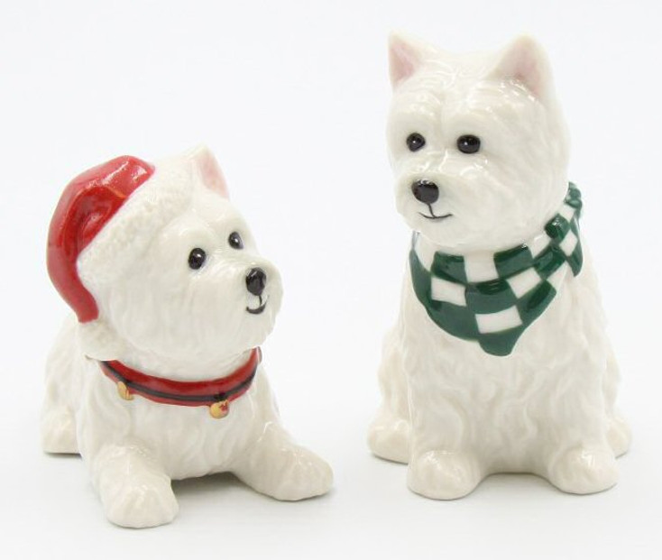 Christmas West Terrier Dogs Porcelain Salt & Pepper Shakers, Set of 4