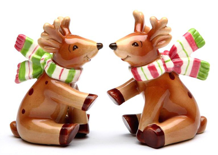 Reindeer Porcelain Salt and Pepper Shakers by Laurie Furnell, Set of 4