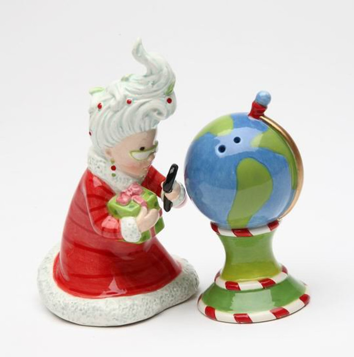 Mrs. Claus Watching the North Pole Salt and Pepper Shakers, Set of 4