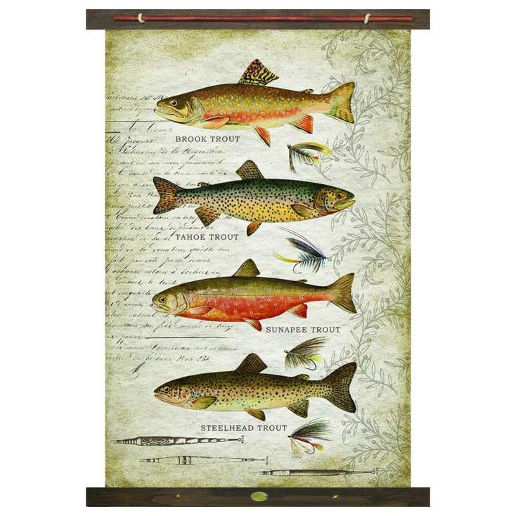 Custom Assorted Trout Fish Brook Tahoe Sunapee Steelhead Canvas Tapestry