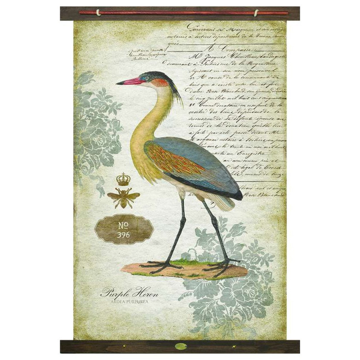 Custom Purple Heron Bird Canvas Tapestry