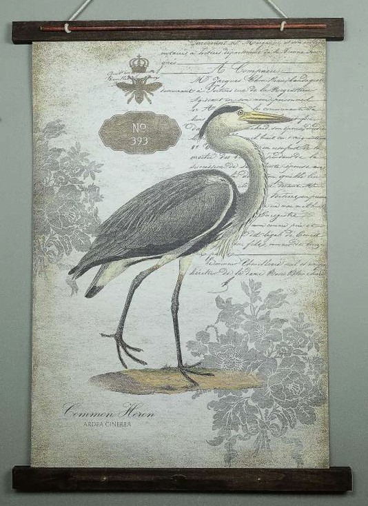 Custom Common Heron Bird Canvas Tapestry