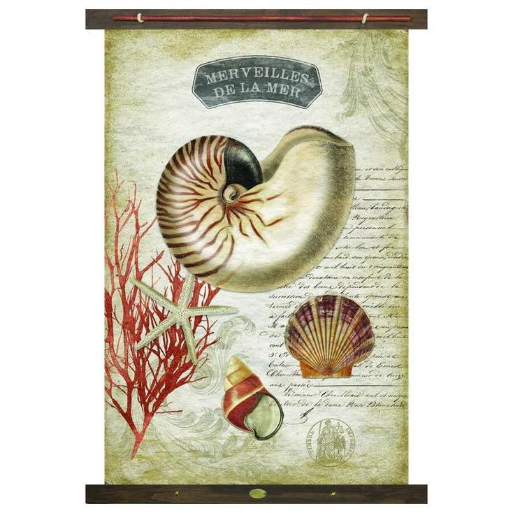Custom Merveilles De La Mer Shells Canvas Tapestry