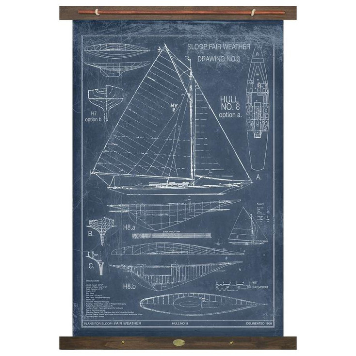 Custom Sailboat Sloop Fair Weather Drawing #3 Canvas Tapestry