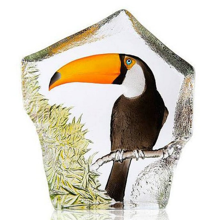Limited Edition Toucan Bird Painted Etched Crystal Sculpture by Mats Jonasson