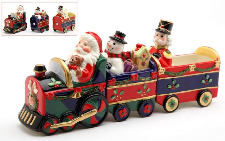Christmas Train Porcelain Salt and Pepper Shakers, Set of 6