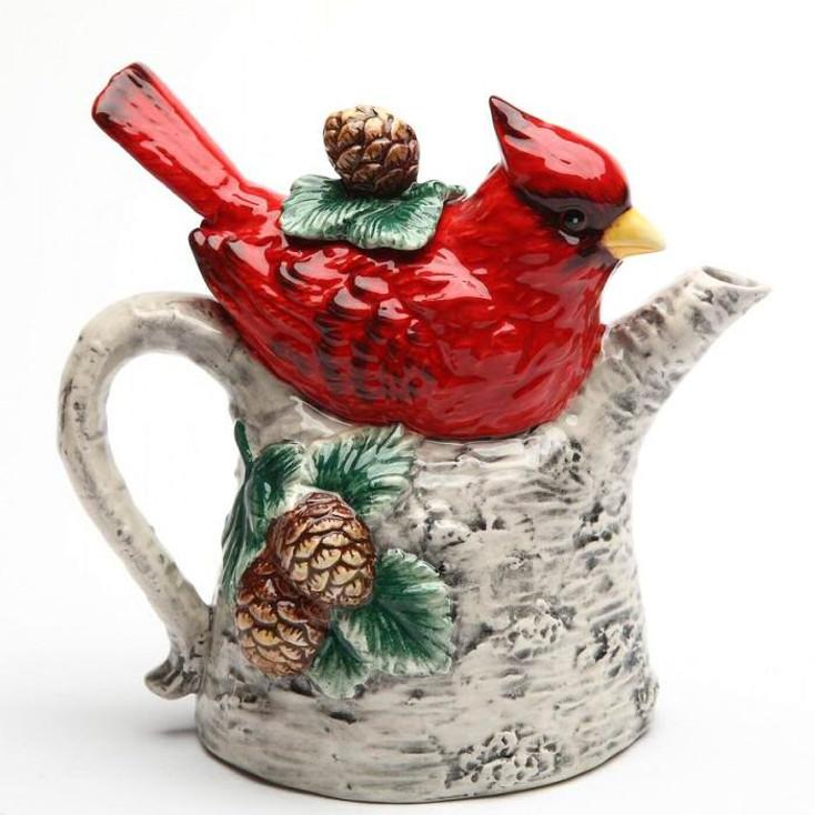 Cardinal Bird Sitting on a Birch Tree Porcelain Teapot