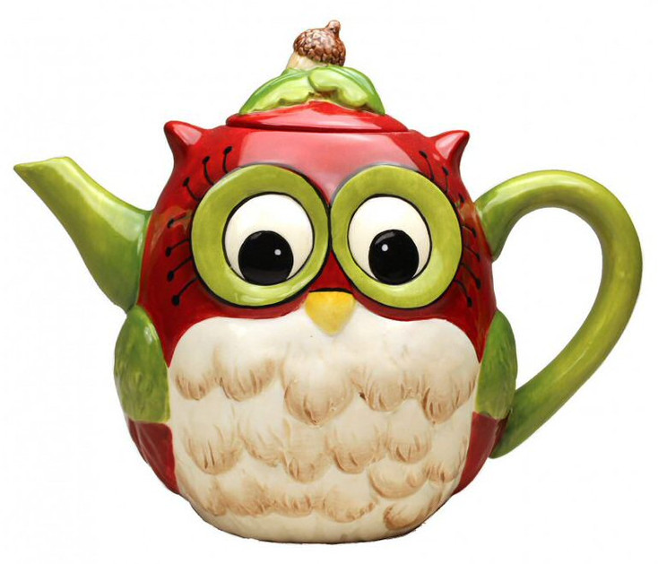 Christmas Owl Bird Porcelain Teapot by Laurie Furnell