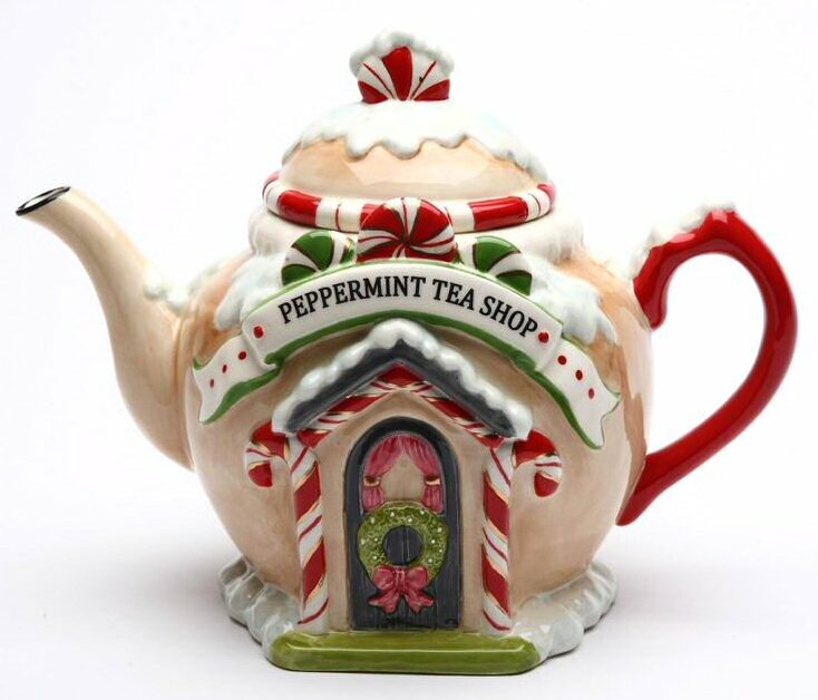 Santa's Village Porcelain Teapot by Laurie Furnell
