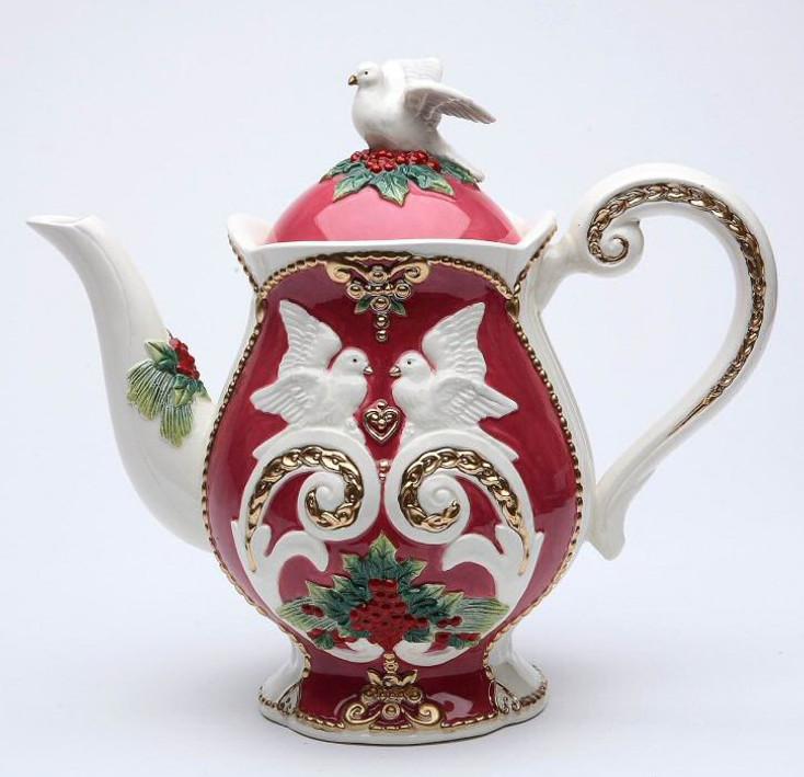 Christmas Fantasia with Birds Porcelain Teapot