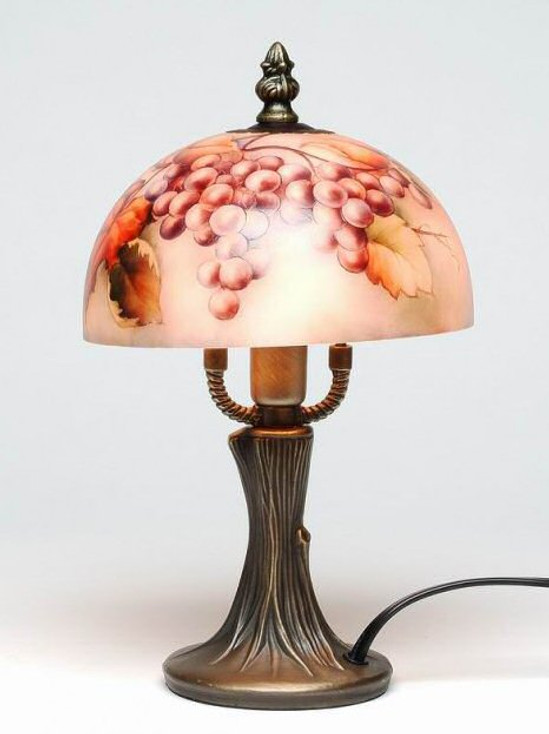"""9.5"""" Grapes Glass and Metal Table Lamp"""