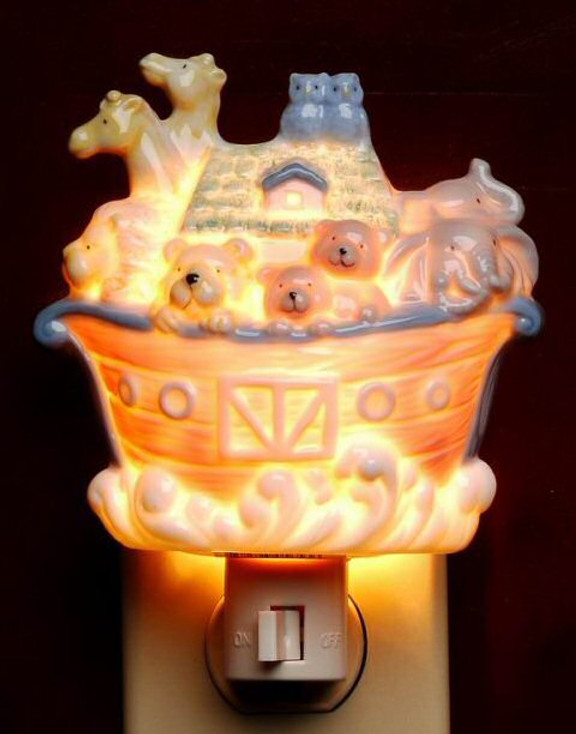 Noah's Ark Porcelain Night Lights, Set of 2