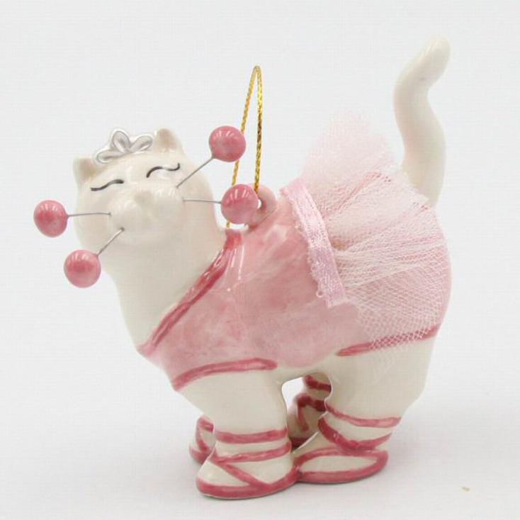 Whisker Cat Ballerina Christmas Tree Ornaments, Set of 4