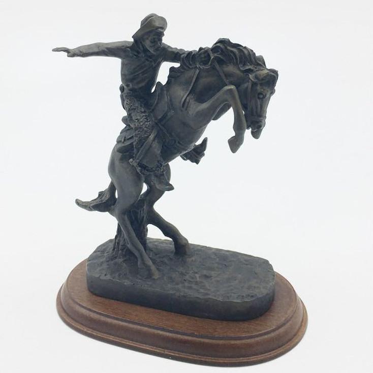 Cowboy on a Rearing Horse Porcelain Sculpture